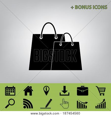 Shopping bags sign. Vector. Black icon at gray background with bonus icons at celery ones