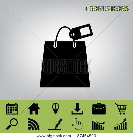 Shopping bag sign with tag. Vector. Black icon at gray background with bonus icons at celery ones