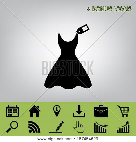Woman dress sign with tag. Vector. Black icon at gray background with bonus icons at celery ones