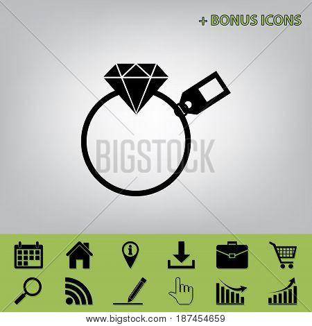 Diamond sign with tag. Vector. Black icon at gray background with bonus icons at celery ones