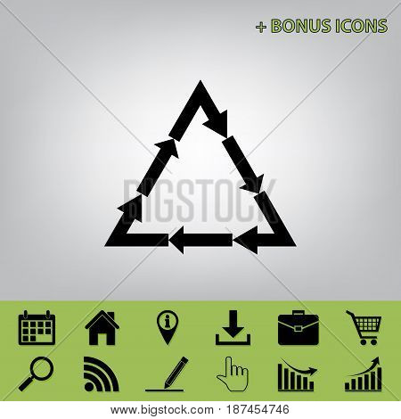 Plastic recycling symbol PVC 3 , Plastic recycling code PVC 3. Vector. Black icon at gray background with bonus icons at celery ones