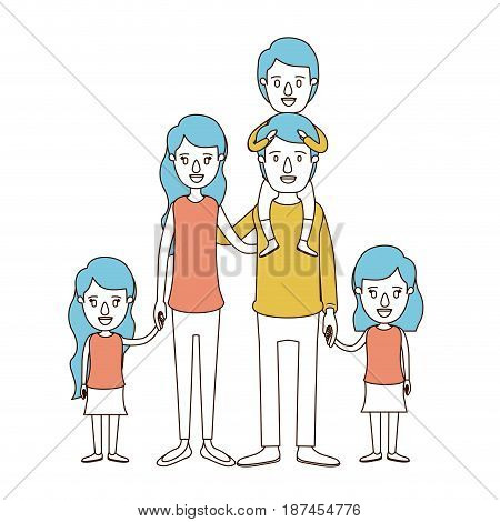 caricature color sections and blue hair of big family parents with boy on his back and daugthers taken hands vector illustration