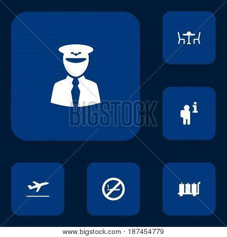 Set Of 6 Aircraft Icons Set.Collection Of Restaurant, Data, Forbidden And Other Elements.