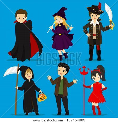 Halloween costumes vector set : dracula, witch, pirate captain, grim reaper, zombie, devil.