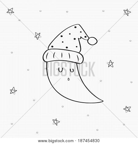 sleeping crescent moon with stars background, line art vector