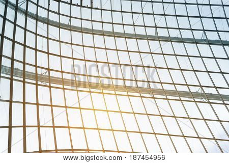 building construction of metal steel framework outdoors with sunlight