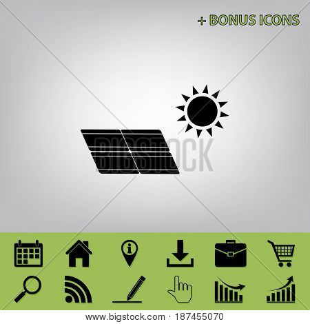 Solar energy panel. Eco trend concept sign. Vector. Black icon at gray background with bonus icons at celery ones