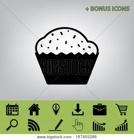 Cupcake sign. Vector. Black icon at gray background with bonus icons at celery ones
