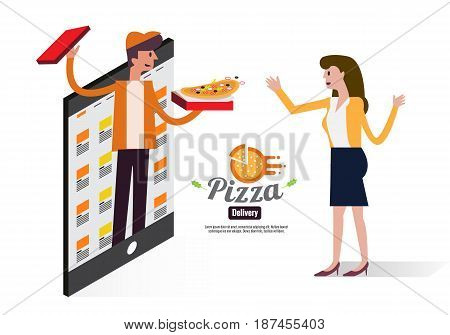 Pizza delivery boy handing pizza box to a beautiful girl. Online mobile food ordering and delivery concept. flat design vector illustration. eps10