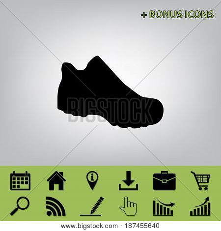 Boot sign. Vector. Black icon at gray background with bonus icons at celery ones