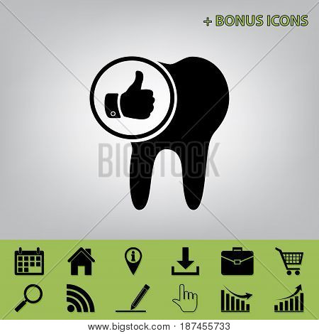 Tooth sign with thumbs up symbol. Vector. Black icon at gray background with bonus icons at celery ones