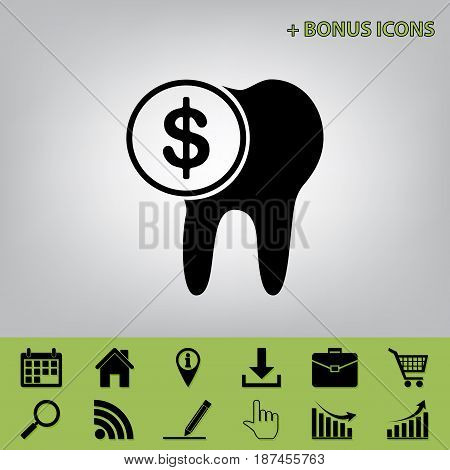 The cost of tooth treatment sign. Vector. Black icon at gray background with bonus icons at celery ones