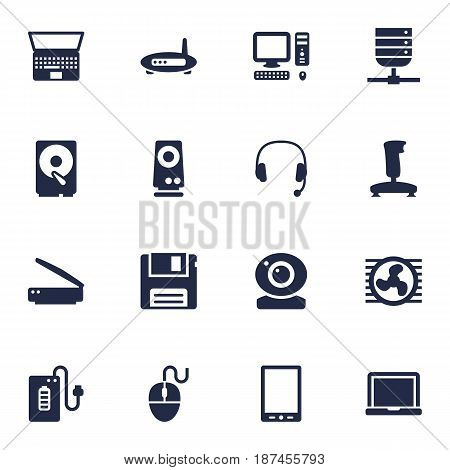 Set Of 16 Computer Icons Set.Collection Of Router, Diskette, Joystick And Other Elements.