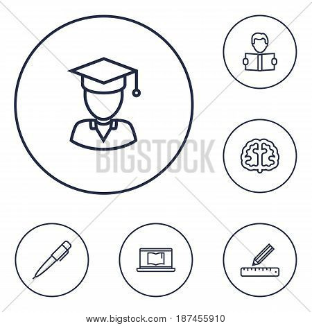 Set Of 6 Studies Outline Icons Set.Collection Of Learning, Pen, Graduated And Other Elements.