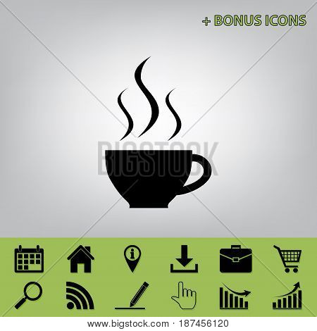 Cup sign with three small streams of smoke. Vector. Black icon at gray background with bonus icons at celery ones