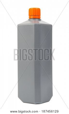 Gray plastic can isolated on white background