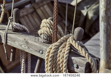 Old sailing ship rigging details