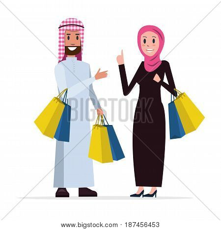 Two Arab people coming out of shopping with bags. flat character design. vector illustration