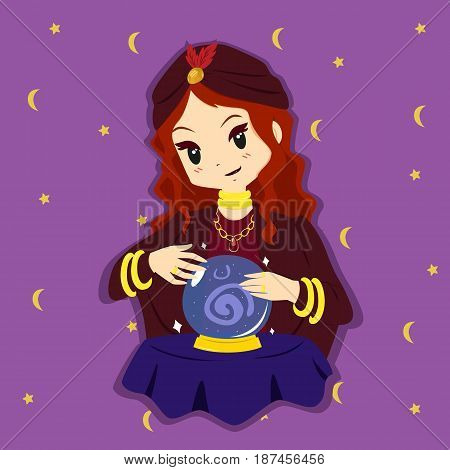 a fortune teller with her hand around a crystal ball