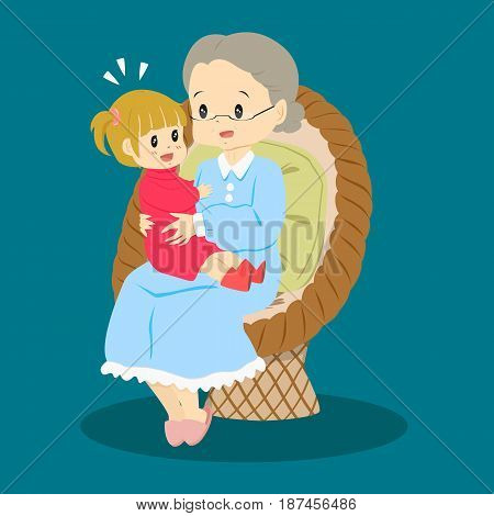 granny sitting happily in a rattan chair with her granddaughter on her lap