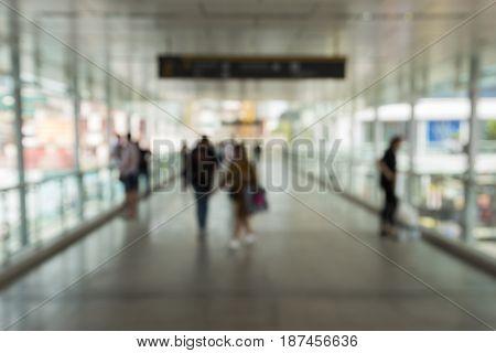 blurred scene of sky walkway at ratchaprasong area in Bangkok Thailand