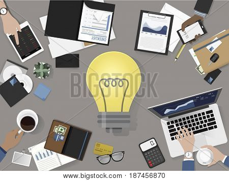 Group of business people meeting brainstorming vector illustration