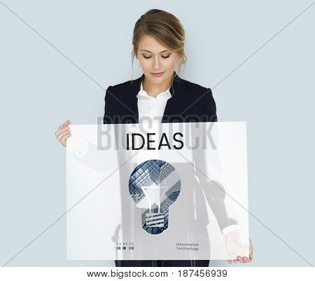 Woman holding banner of creative ideas digital technology light bulb