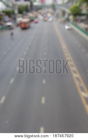 defocused scene of road in clear traffic in ratchaprasong area Bangkok Thailand