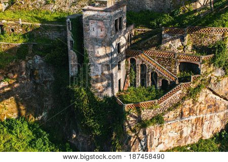 Abandoned house buildings, Porto, Portugal. Ancient ruins of Europe.