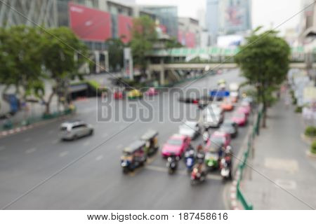 blurred background of Ratchaprasong area in Bangkok Thailand. this area is famous place of Bangkok