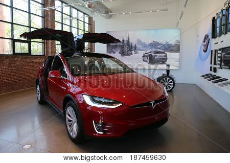 BROOKLYN, NEW YORK - MAY 21, 2017: Tesla Model X on display at the new Tesla dealership at Red Hook in Brooklyn, New York