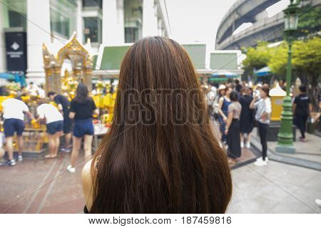 Unidentified people worship in Erawan shrine at ratchaprasong bangkok Thailand. Erawan shrine is famous place in ratchaprasong area