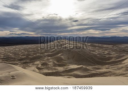 View of Kelso Sand Dunes wilderness area at the Mojave National Preserve in Southern California.