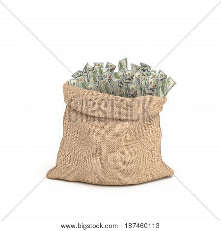 3d rendering of a large brown sack full of 100 dollar bills sticking from it isolated on white background. Money and wealth. Road to richness. Successful trading.