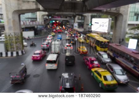 blurred background of traffic jam in traffic at siam square in Bangkok Thailand