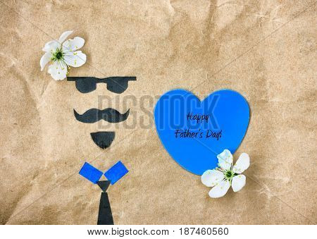 Father's day greeting card applique face with glasses mustache and beard blue heart with text