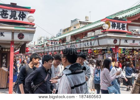 Tokyo Japan - May 1 2017: Tourists and Local are entering Nakamise Dori shopping steert in Asakusa Tokyo.