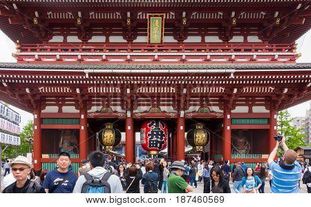 Tokyo Japan - May 1 2017: Tourists and Local are visiting Sensoji Shrine in Tokyo.