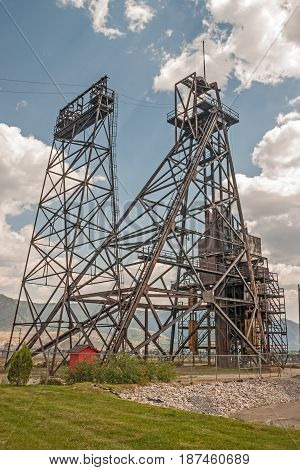 Mining headframes make interesting landmarks in an old mining town