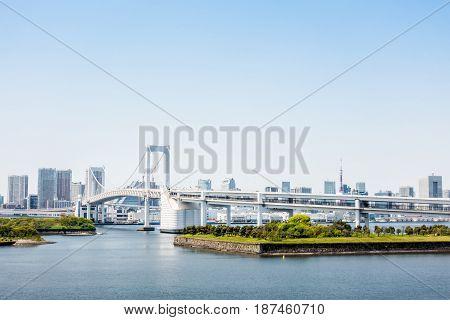 The famous rainbow bridge of Odaiba Tokyo bay