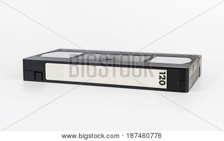 Video tape with blank label isolated on white