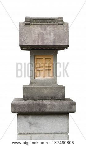 Japanese rock shirne sculpture isolated on white
