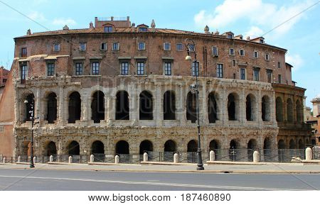 Rome Italy. View to the Theatre of Marcellus (Italian: Teatro di Marcello)