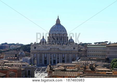 Rome, Italy, View on Basilica of St. Peter in the Vatican May 17, 2012.