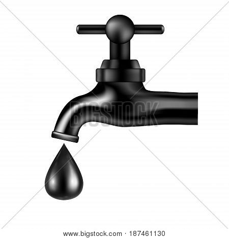 Vector black tap with oil drop on white background. Petroleum illustration. Isolated icon. Vector image.