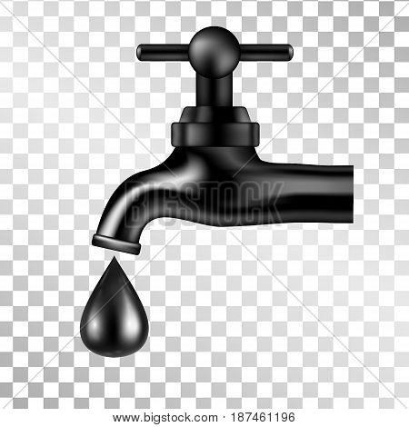 Vector black tap with oil drop on transparent background. Petroleum illustration. Isolated icon. Vector image.