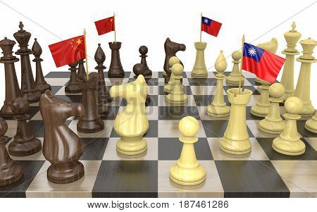 China and Taiwan foreign policy strategy and power struggle, 3D rendering