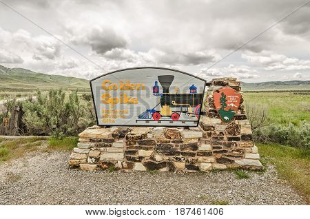 National Park Service sign for the Golden Spike National Historic Site in northern Utah