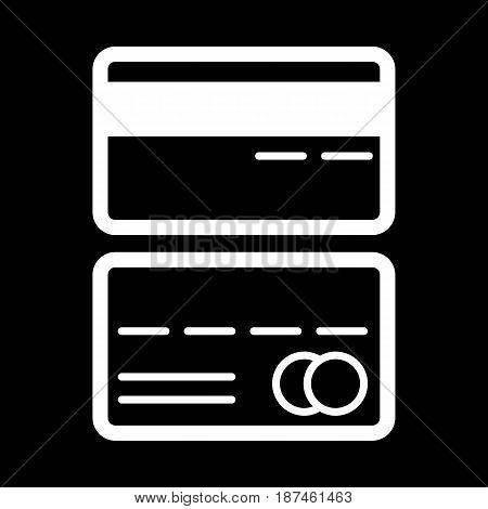 Credit cards vector icon. Black and white card illustration. Outline linear icon. eps 10