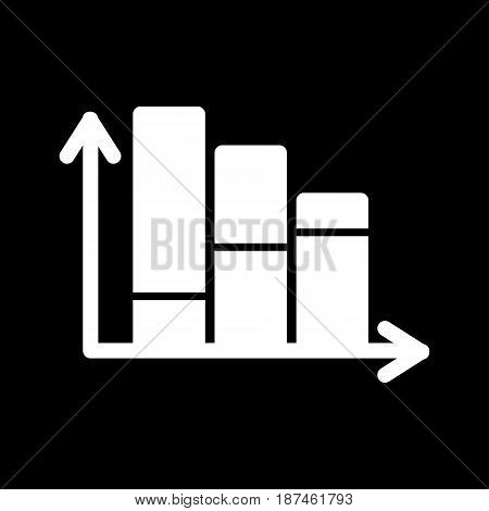 Chart vector icon. Black and white diagram illustration. Solid linear schedule icon. eps 10